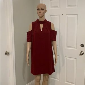 Dresses & Skirts - Wine Red Cold Shoulder Dress